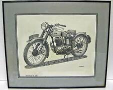 1947 BSA C-11 250cc Original pencil drawing picture by P Jamiol , framed