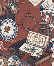 Unique Vintage Craft Room Books Scrap Booking Albums Reds Double Rolls Wallpaper