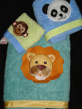 SATURDAY KNIGHT~ANIMAL WORLD~PANDA LION MONKEY~3 piece BATH TOWEL TOWELS SET~NEW