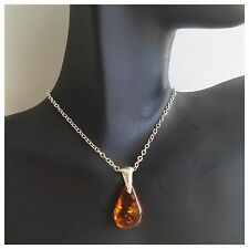 BALTIC AMBER Small PENDANT NECKLACE 100% Sterling Silver Genuine Teardrop AMBER