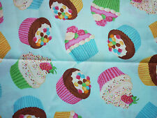 CLEARANCE   FQ BRIGHT FAIRY CUPCAKES CANDY FABRIC FOOD KITCHEN KITSCH