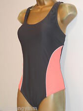 LADIES GREY / PEACH OCEAN CLUB RACER BACK SWIMSUIT SIZE 14 PADDED SWIMWEAR