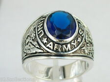 925 Silver United States Army Military September Blue Montana Men Ring Size 10