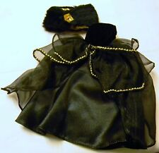 BARBIE DOLL SIZE BLACK GOWN AND FAKE FUR WRAP