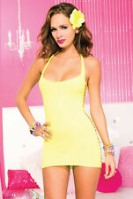 ML-56022 Sexy Stripper Dancer Clubwear Clubwear String Back Yellow Mini Dress