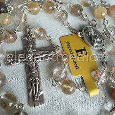 Rare Rutilated Quartz Beads 5 DECADE Catholic Rosary CROSS gifts necklace Box