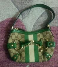 Authentic Gucci Horsebit Monogram Canvas/Green Leather Trim Bag