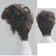 Korean Fashion Mens Wig Short Wavy Curly Frizzy Brown Hair Cosplay Daily Costume