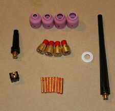 Tig welding gas lense cup collet kit for wp9 20 25 torch bodies with back caps.