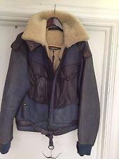 Iconic CLAUDE MONTANA Vintage 80s SHEARLING Leather Bomber Jacket  COAT SZ 50