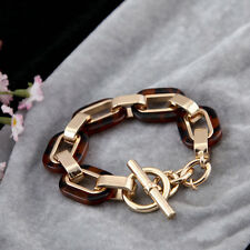 Gold Crysta lock  Link  Plated Golden Resin Tone  Charm Pave Toggle Bracelets