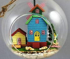 Dollhouse Miniature DIY KIT  in 5 inch hanging glass ball PLUS fairy and tree