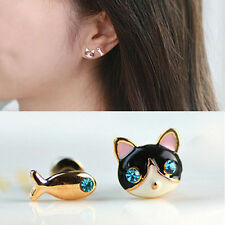 1 Pair Women Charm Fashion Cute Lovely  Cat Fish Rhinestone Ear Stud Earring