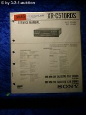 Sony Service Manual XR C510RDS Cassette Car Stereo (#3540)