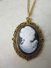 Vintage Look Black and White Gold Plated Cameo Lady Necklace New in Gift Bag