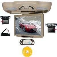 """Beige 12.1"""" LCD Car Roof Mount Monitor DVD Player TV IR FM SD USB Games Speakers"""