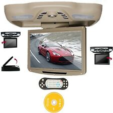 "Beige 12.1"" LCD Car Roof Mount Monitor DVD Player TV IR FM SD USB Games Speakers"