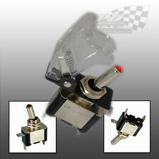 AIRCRAFT STYLE CLEAR FLIP COVER TOGGLE SWITCH 12v RACING SWITCH
