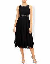 New MONSOON Penelope Black Cocktail Midi Prom Evening Dress Size 16 BNWT £139