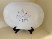 FASCINO Stoneware Platter, Japan, Blue Floral Hand Decorated 12 3/4 inches