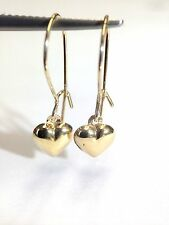 Cute NEW Solid 10K Yellow Gold Puffy Heart Dangle Hook Earrings
