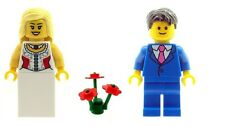 LEGO Wedding Bride & Groom (blue suit) Minifigs & Red Flowers  NEW