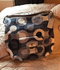 COACH OP ART KRISTIN BLUES/WHITE HOBO HANDBAG14860 GUC