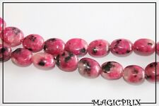 M2495) LOT de 36 Perles en Pierre Fine Tons  Fushia&Noir Ovale 8 mm