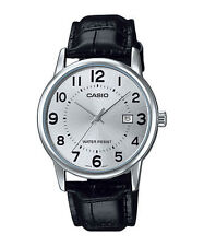 Casio MTP-V002L-7B Men's Black Leather Dress Watch Silver Dial With Date
