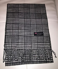 100% Cashmere Scarf Black White Houndstooth Made in Scotland SOFT Warm NEW