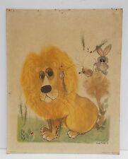 Vintage Print of a Big Eyed Lion Ladybug Rabbit Mouse by George Buckett 1963
