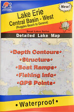 Lake Erie Central Basin-West Detailed Lake Map, GPS Points, Waterproof #L295