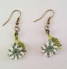 Handmade Needle Lace Crochet Dangle Earrings Khaki Flowers w Green Leaf Details