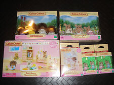 Calico Critters Lot of 6 Sets Babys Nursery Hedgehog Bunk Beds Twins FAMILY NIB