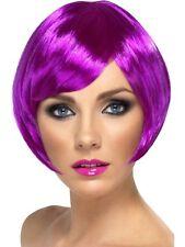 Neon Violet Bob Courte années 1920 20s perruque Raie COSTUME ROBE FANTAISIE ACCESSOIRE 42054