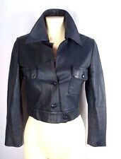 VTG NINA RICCI LUXURIOUS LEATHER RUNWAY CROPPED JACKET SZ S
