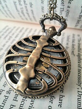 Vintage Style Ribcage Ribs Spine Pocket Watch Steampunk Gothic Bones