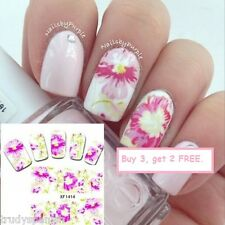 Nail Art Water Decals Stickers Wraps Pretty in Pink Flowers Gel Polish (1414)