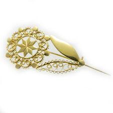 Spilla fiore filigrana argento dorato ornamento costume sardo _ sardinian brooch