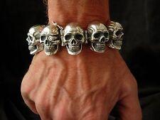 mens silver bracelet skull bracelet 300 grams handmade SALE! 925 diamond
