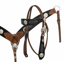 WESTERN SADDLE HORSE LEATHER BRIDLE W/ REINS & BREAST COLLAR PLATE WITH BLING !