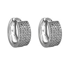 Hoop Style Earrings White Gold Finish Clip On Huggies Mens Womens Iced Out CZ