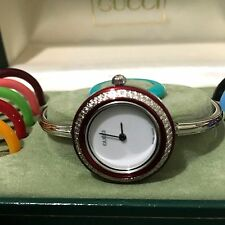 *GUCCI* 11/12 'SILVER' TONE BANGLE WHT DIAL W/ 13 BEZELS LADIES WATCH *MINT*!!