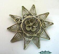 Bezalel Style Silver Filigree Star Brooch Palestine 30s