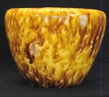 Antique Yellow Ware Flint Enamel Sponge Rockingham Glaze Bowl Vase 19thc