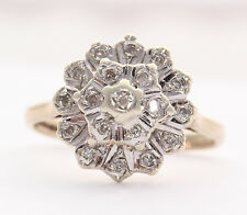 Secondhand 9ct Yellow & White Gold Diamond Cluster Ring Size K