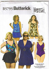 Easy 1-Piece Swimsuit Top Cover Up Briefs Skirt Sewing Pattern Plus 18 20 22 24