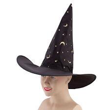 Nylon Sombrero De Bruja Con Estrellas De Oro De Disfraces De Halloween Negro Wizard Hat Libro día