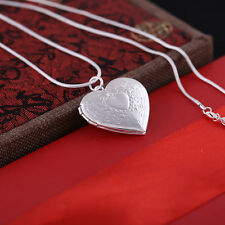 "Fashion Women 925 Sterling Silver Locket Heart Photo Pendant Necklace 17"" Gift"
