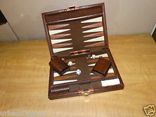 125997/ Vintage Leather Travel Size Backgammon Game ~ from Estate
